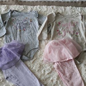 Baby girl bundle onsie with skirted pants 12m